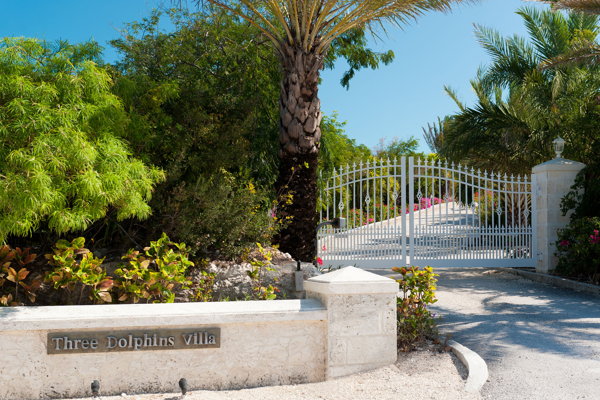 The beautifully landscaped, tropical garden at Three Dolphins Villa, Providenciales (Provo), Turks and Caicos Islands