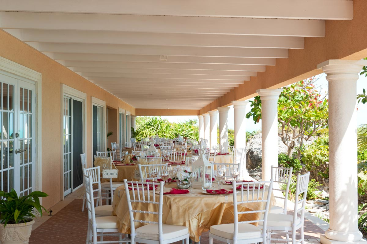The huge, shaded terrace is the perfect location for a Caribbean wedding reception