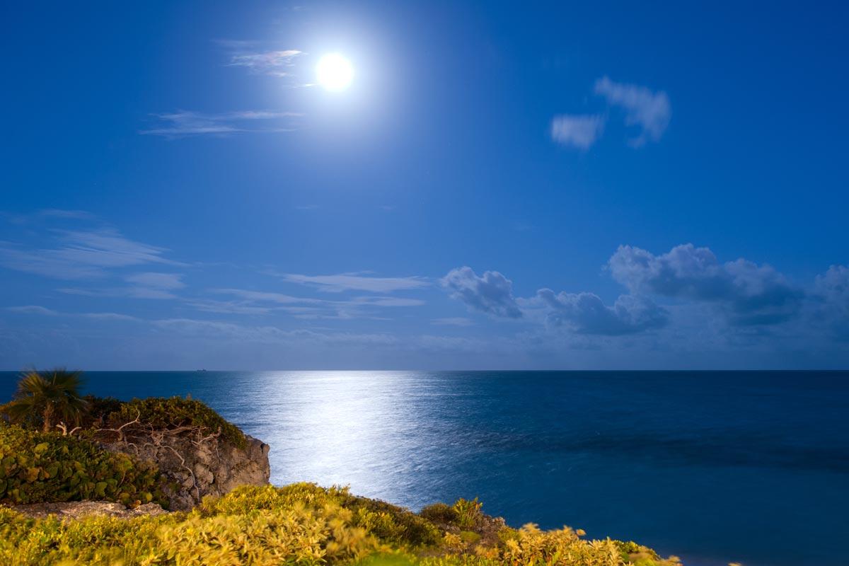 Romantic moonlight shines over this magnificent Caribbean villa estate