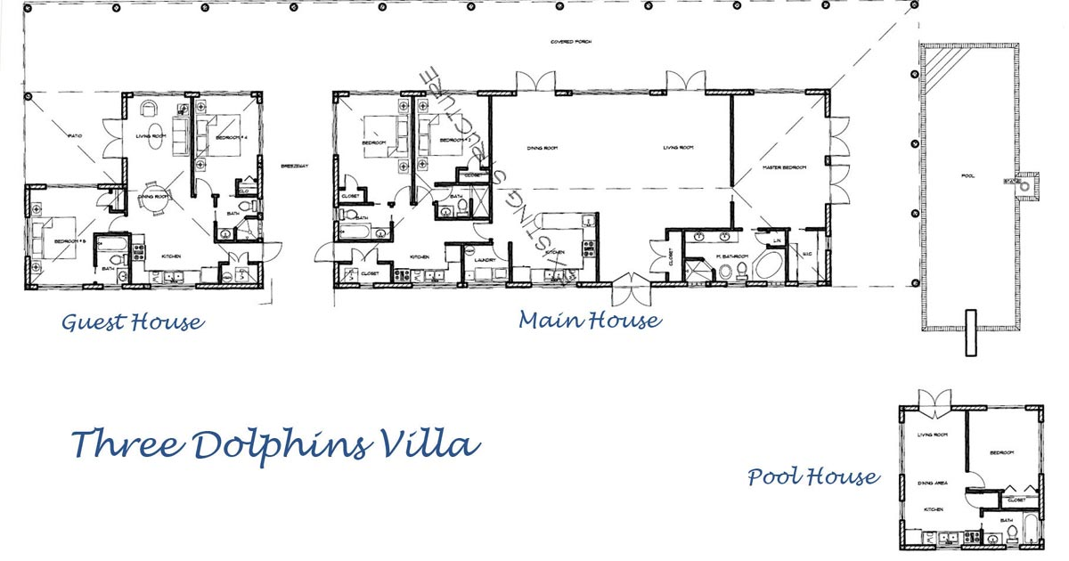 The floor plan helps to show the true scale of the accommodations provided at Three Dolphins Villa, Providenciales (Provo), Turks and Caicos Islands