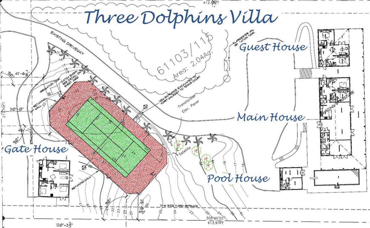 The ground plan of Three Dolphins Villa, Providenciales (Provo), Turks and Caicos Islands