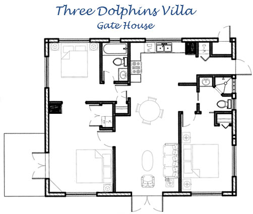The Gate House floor plan, Three Dolphins Villa, Providenciales (Provo), Turks and Caicos Islands