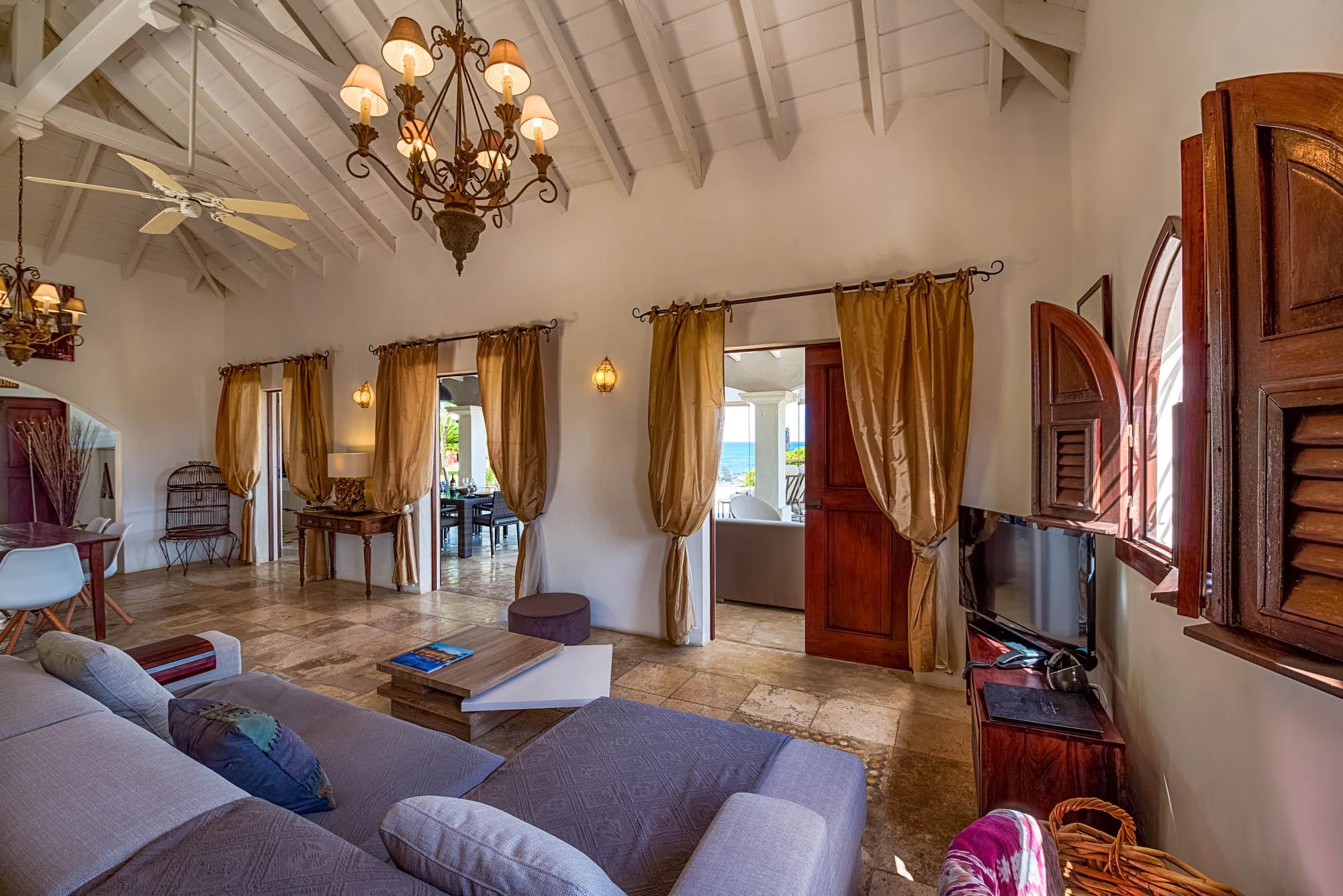 The classy living room of Le Mas des Sables villa rental, Baie aux Cayes, Terres Basses, Saint Martin, Caribbean.