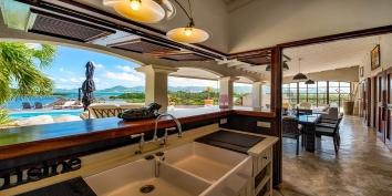 The outdoor kitchen at Le Mas des Sables villa rental, Baie aux Cayes, Terres Basses, Saint Martin, Caribbean.