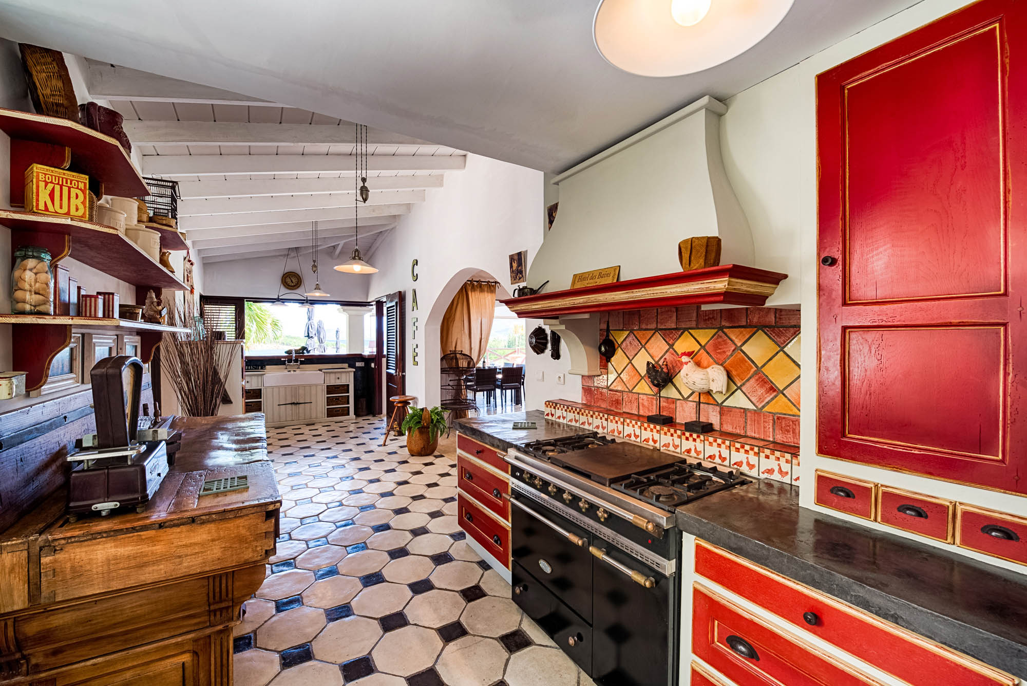 The fully equipped kitchen with everything you may need while on vacation in the Caribbeans.