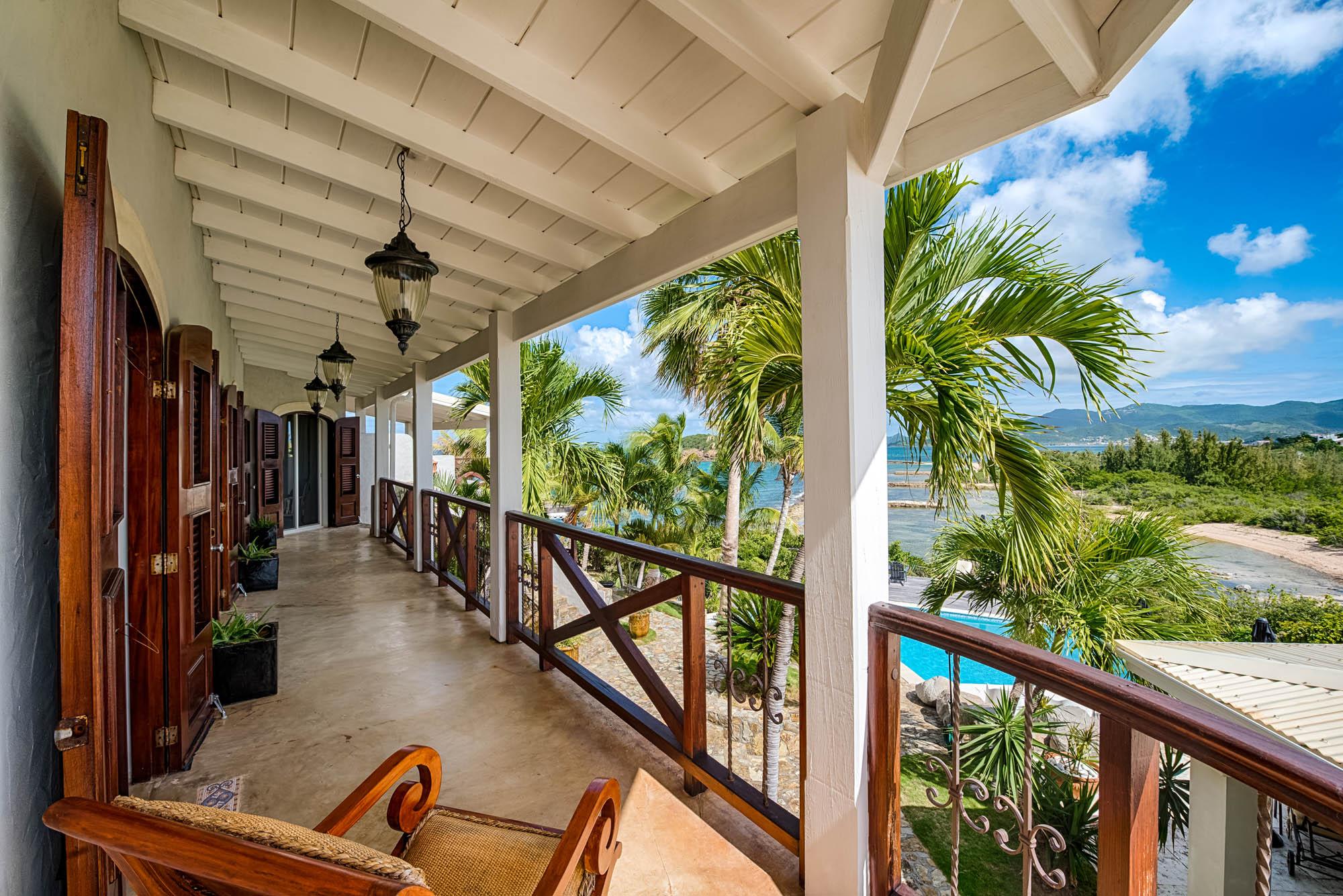 Fantastic views from your private balcony at Le Mas des Sables villa rental, Baie aux Cayes, Terres Basses, Saint Martin, Caribbean.