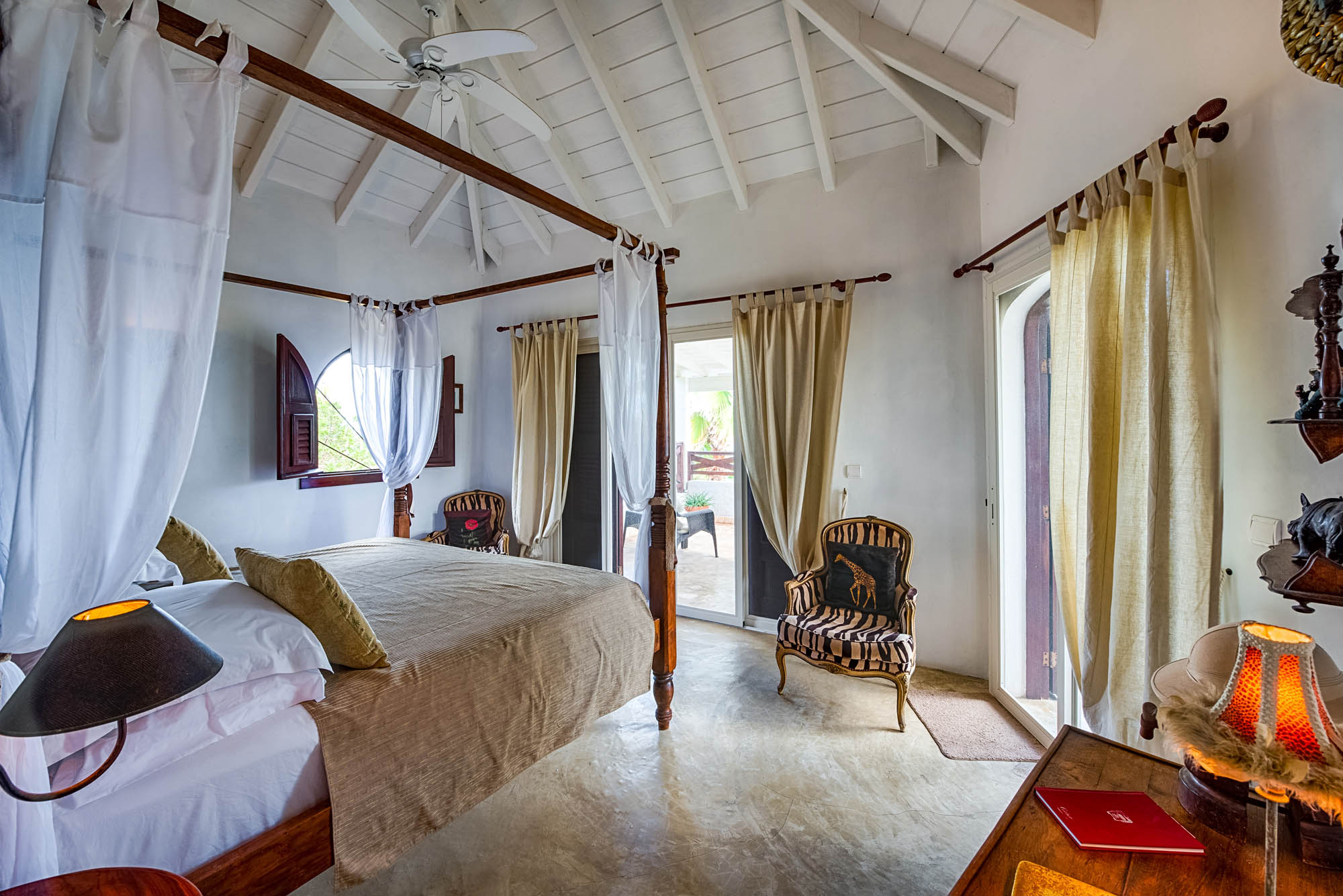 There are 3 bedrooms at Le Mas des Sables, Baie aux Cayes, Terres-Basses, St. Martin villa rental, French West Indies.