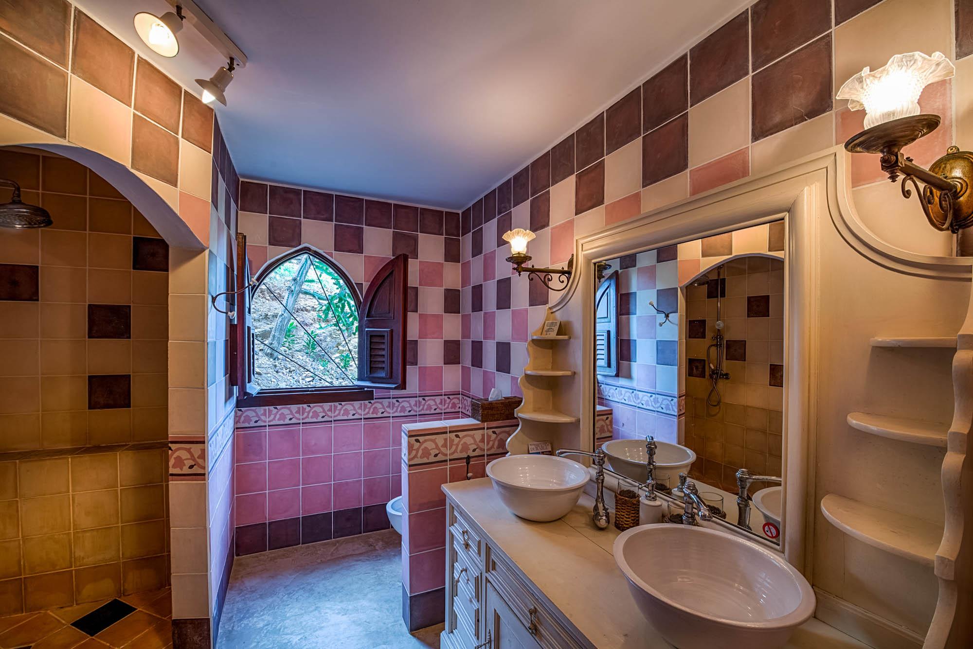 One of the beautiful designed bathrooms at Le Mas des Sables villa rental, Baie aux Cayes, Terres Basses, Saint Martin, Caribbean.