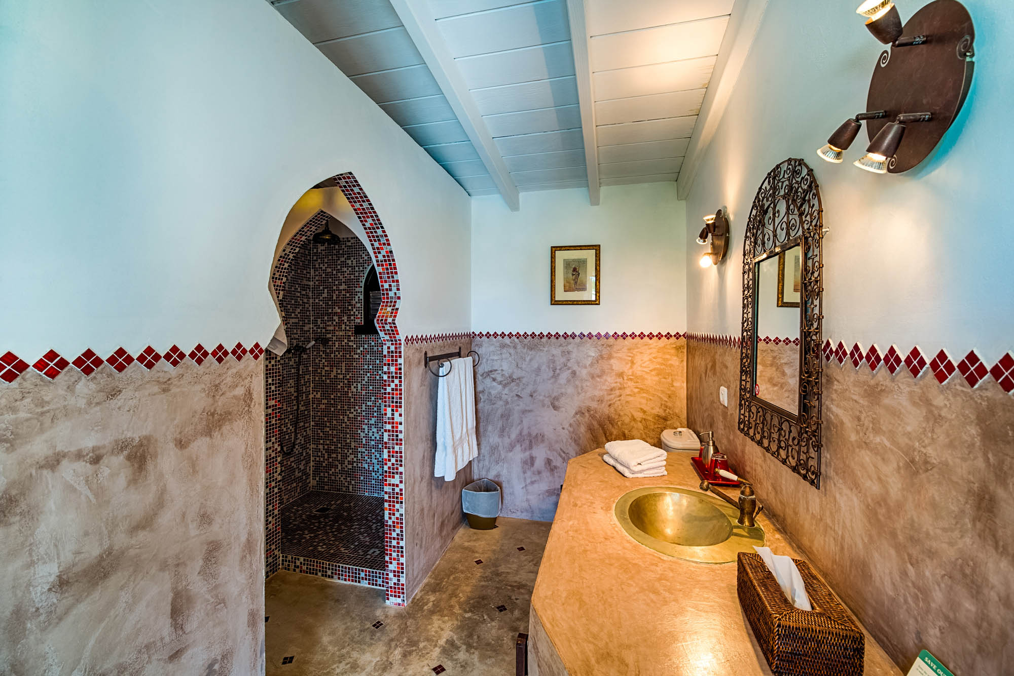 The stylish designed bathroom of the third bedroom at Le Mas des Sables, Baie aux Cayes, Terres-Basses, St. Martin villa rental, French West Indies.