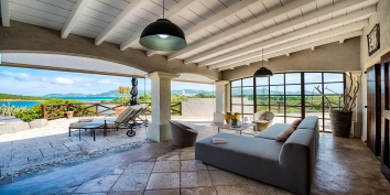 Comfortable, contemporary furnishings for outdoor Caribbean living at this luxury St. Martin vacation villa rental.