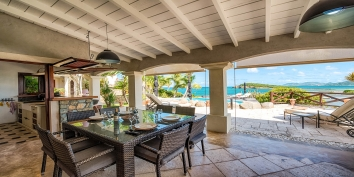 Prepare some delicious dinner at the outdoor kitchen of Le Mas des Sables villa rental, Baie aux Cayes, Terres Basses, Saint Martin, Caribbean.