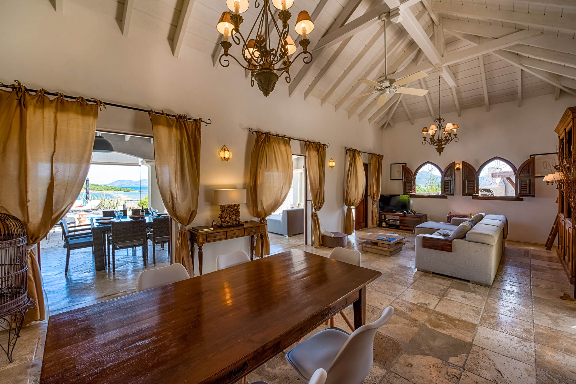 Le Mas des Sables, Baie aux Cayes, Terres-Basses, offers a spacious living room with luxury interior and precious design throughout.
