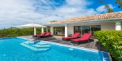 Dip in your feet in the large and private freshwater swimming pool of Little Provence villa rental, Baie Longue, Terres-Basses, Saint Martin, Caribbean.