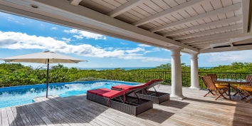 The contemporary designed sundeck of Little Provence villa rental, Baie Longue, Terres-Basses, Saint Martin, Caribbean.