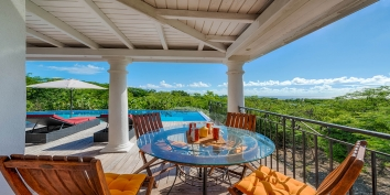 Little Provence villa rental, Baie Longue, Terres-Basses, Saint Martin, Caribbean, serves perfect spots for enjoying your morning coffee while viewing the beautiful nature of the Caribbeans in the background.