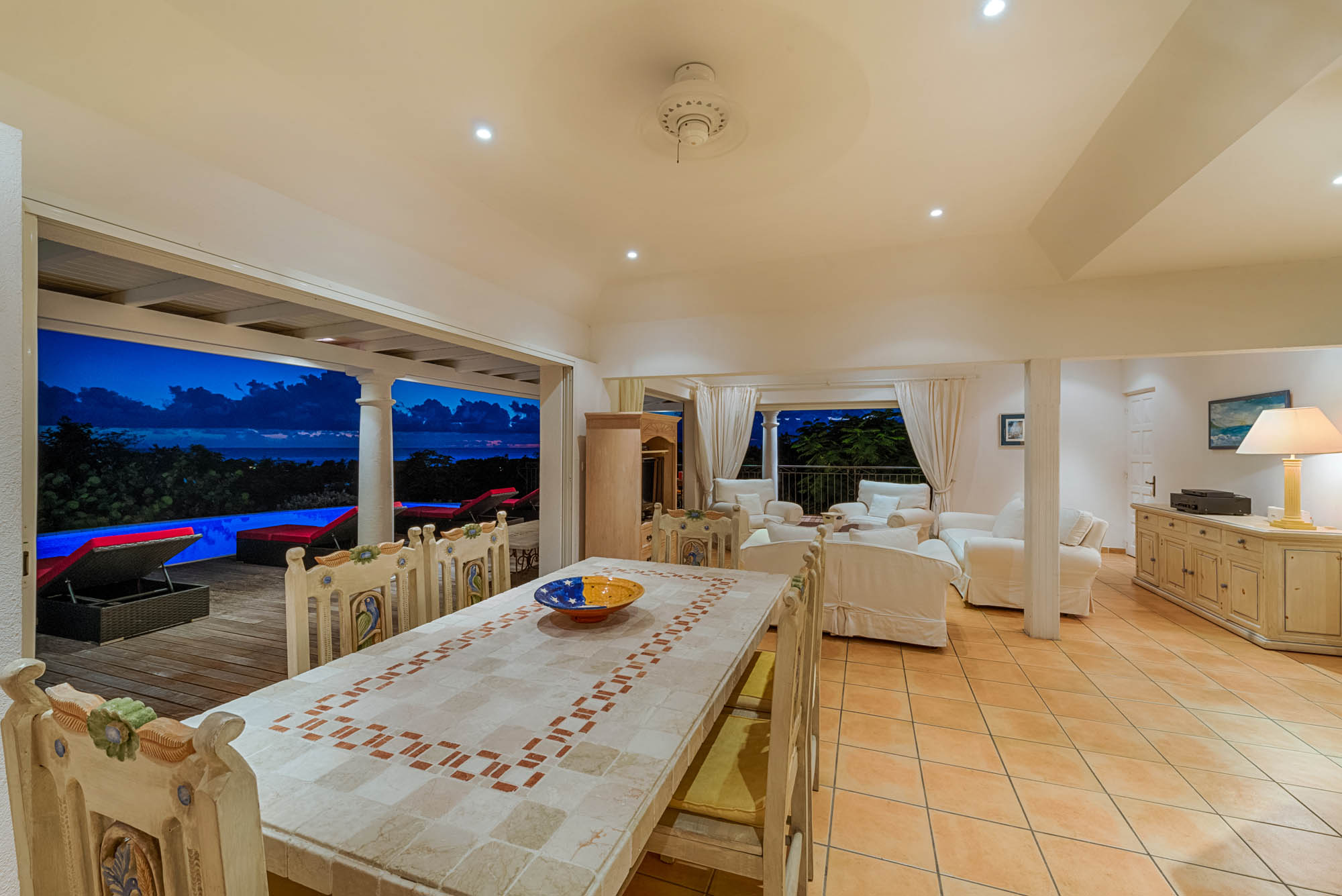 This St. Martin villa rental has romantic atmosphere at night.