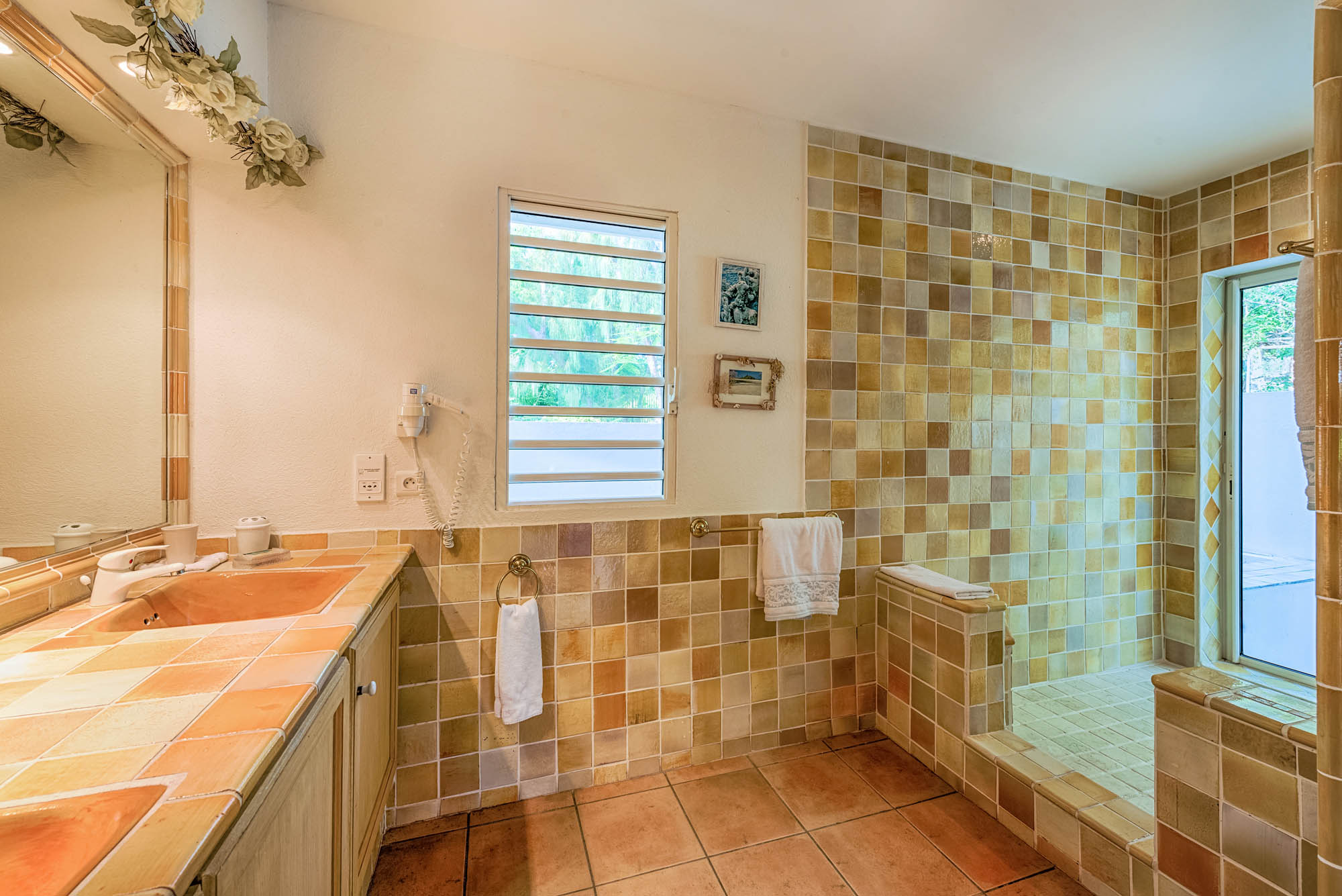 The beautiful designed bathroom of Villa Little Provence, Baie Longue, Terres Basses, St. Martin, French West Indies.