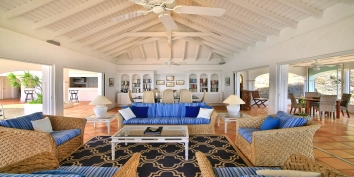 A photograph of the spacious living room of villa Escapade, Anse au Cajoux, Terres Basses, St. Martin, French West Indies.