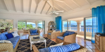 Let in the breeze off the Caribbean Sea and relax in the comfortable living room of Escapade, Anse au Cajoux, St. Martin, French West Indies.