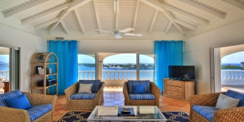 The beautiful view from the living room of villa Escapade, Terres Basses, Saint Martin.