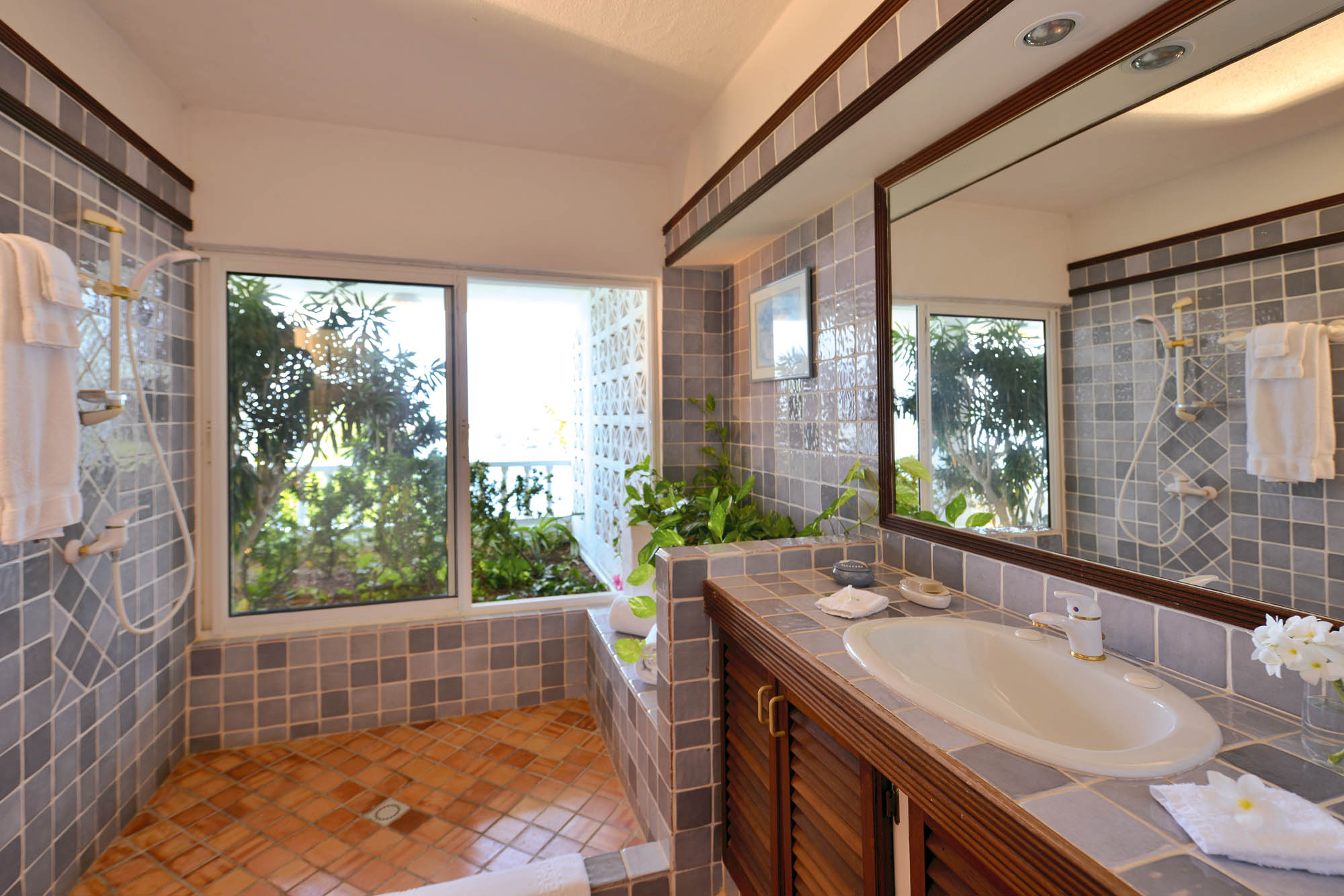 A photograph of one of the tastefully decorated bathrooms of this St. Martin villa rental, French West Indies.