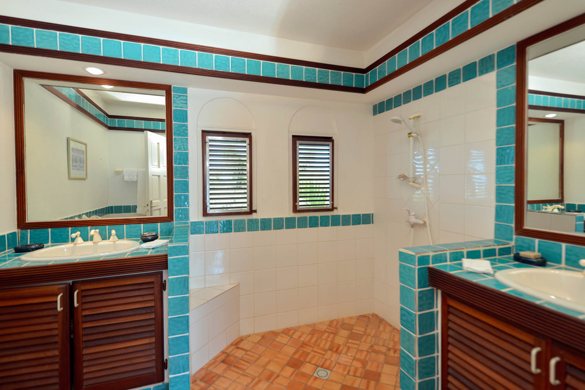 This St. Martin holiday villa rental provides gorgeous bathrooms for each master bedroom.