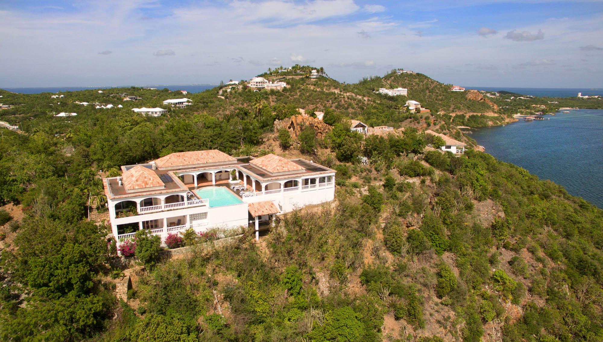 An aerial photograph of Escapade villa rental, Anse au Cajoux, Terres-Basses, Saint Martin, Caribbean.