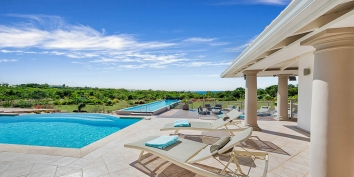 La Bastide villa rental offers great views of the Caribbean Sea from the very private swimming pool deck and terrace.