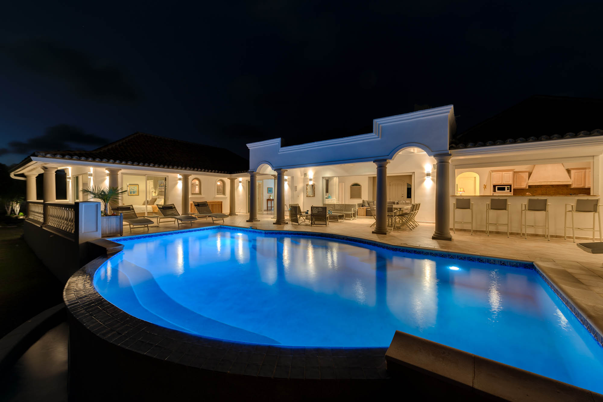 La Bastide, Baie Longue, Terres Basses, St. Martin villa rental is stunning by day or night by night.