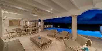 Comfortable, contemporary furnishings for outdoor Caribbean living at La Bastide villa rental, Baie Longue, Terres-Basses.