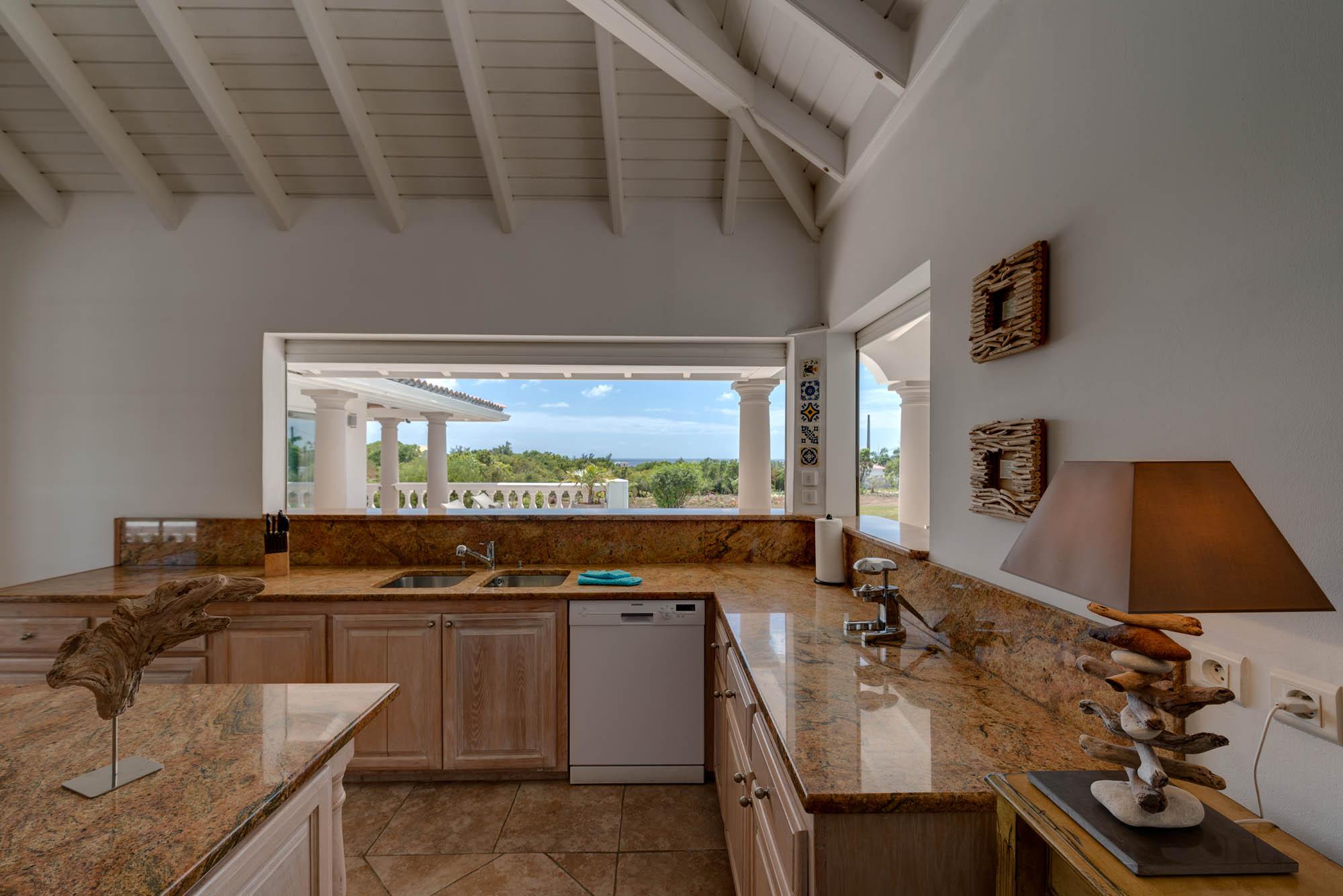 La Bastide villa rental, Baie Longue, Terres-Basses, Saint Martin, Caribbean has a beautifully desgined kitchen.