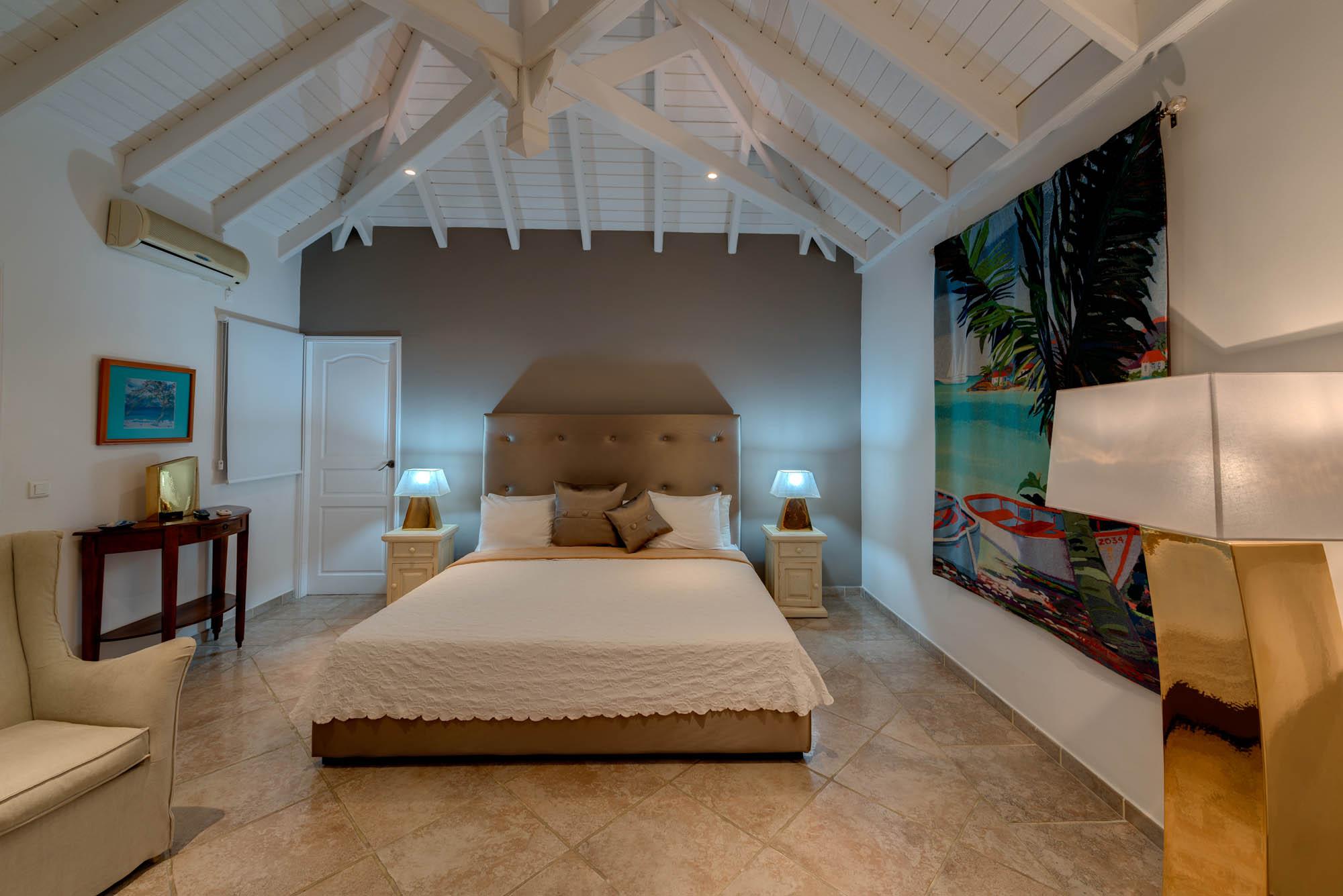 One of the beautiful and spacious bedrooms at villa La Bastide, Baie Longue, Terres-Basses, Saint Martin, Caribbean.