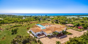 An aerial photograph of La Bastide, Baie Longue, Terres Basses, St. Martin villa rental, French West Indies.