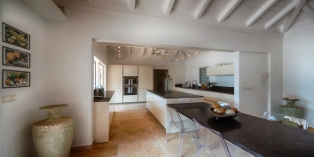 The fully equipped kitchen of La Nina, Baie Longue, Terres Basses, St. Martin villa rental, French West Indies.