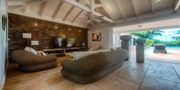 The modern living room of La Nina villa rental, Baie Longue, Terres-Basses, Saint Martin, Caribbean.