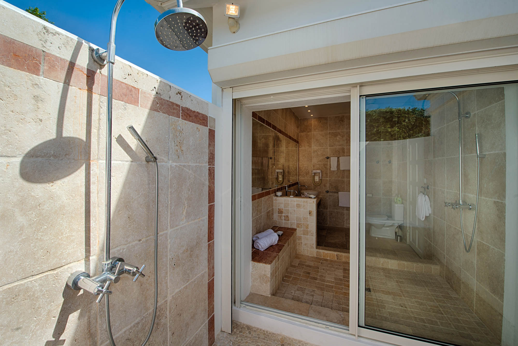 Take a refreshing shower and get warmed by the Caribbean sun at Lune de Miel, Baie Longue, Terres Basses, St. Martin villa rental, French West Indies.