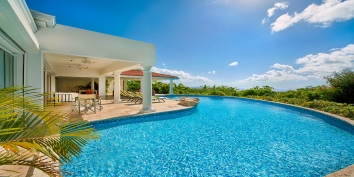This St. Martin holiday villa rental has a large freshwater pool with beautiful views of the Caribbean Sea.