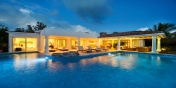 A photograph of Lune de Miel, Baie Longue, Terres Basses, St. Martin villa rental, French West Indies by night.