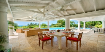 The outdoor dining area at this St. Martin villa rental, French West Indies.