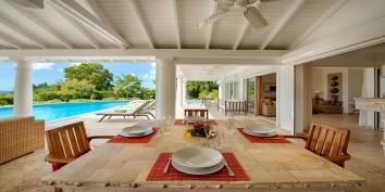 Enjoy alfresco dining at Lune de Miel villa rental, Baie Longue, Terres-Basses, Saint Martin, Caribbean.