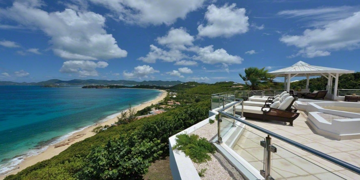 An extraordinary, five bedroom villa, built on 2 levels with swimming pool, luxuriously decorated interiors and two gazebos overlooking stunning Baie Rouge!