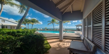 Lots of space for relaxing in the sun or shade at villa Eden, Long Bay Beach, St. Martin, French West Indies.