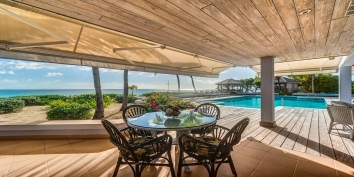 Spacious pool deck and terraces at Eden villa rental, Long Bay Beach, Saint Martin, Caribbean.