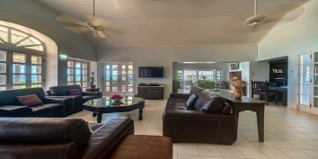 The spacious living room of Eden villa rental, Terres-Basses, Saint Martin, Caribbean.