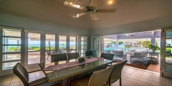 The dining room of villa Eden, Baie Longue Beach, Terres Basses, St. Martin villa rental, French West Indies.