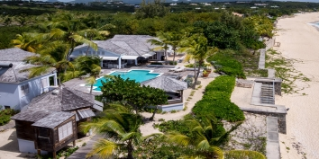 An aerial view of villa Eden, Long Bay Beach, Terres Basses, St. Martin villa rental, French West Indies.