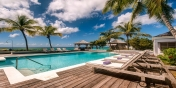 This Saint Martin villa rental on Long Bay Beach has a large, heated swimming pool.
