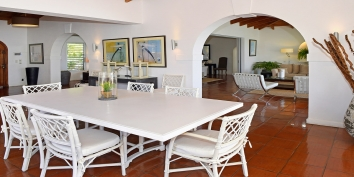 This St. Martin villa rentall has a spacious great room which combines the living and dining areas.