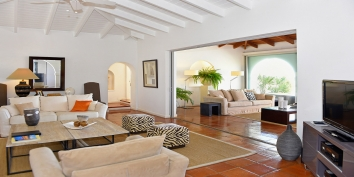 The light and spacious living room of Villa Beaulieu, Long Bay Beach, Terres Basses, St. Martin villa rental, French West Indies.