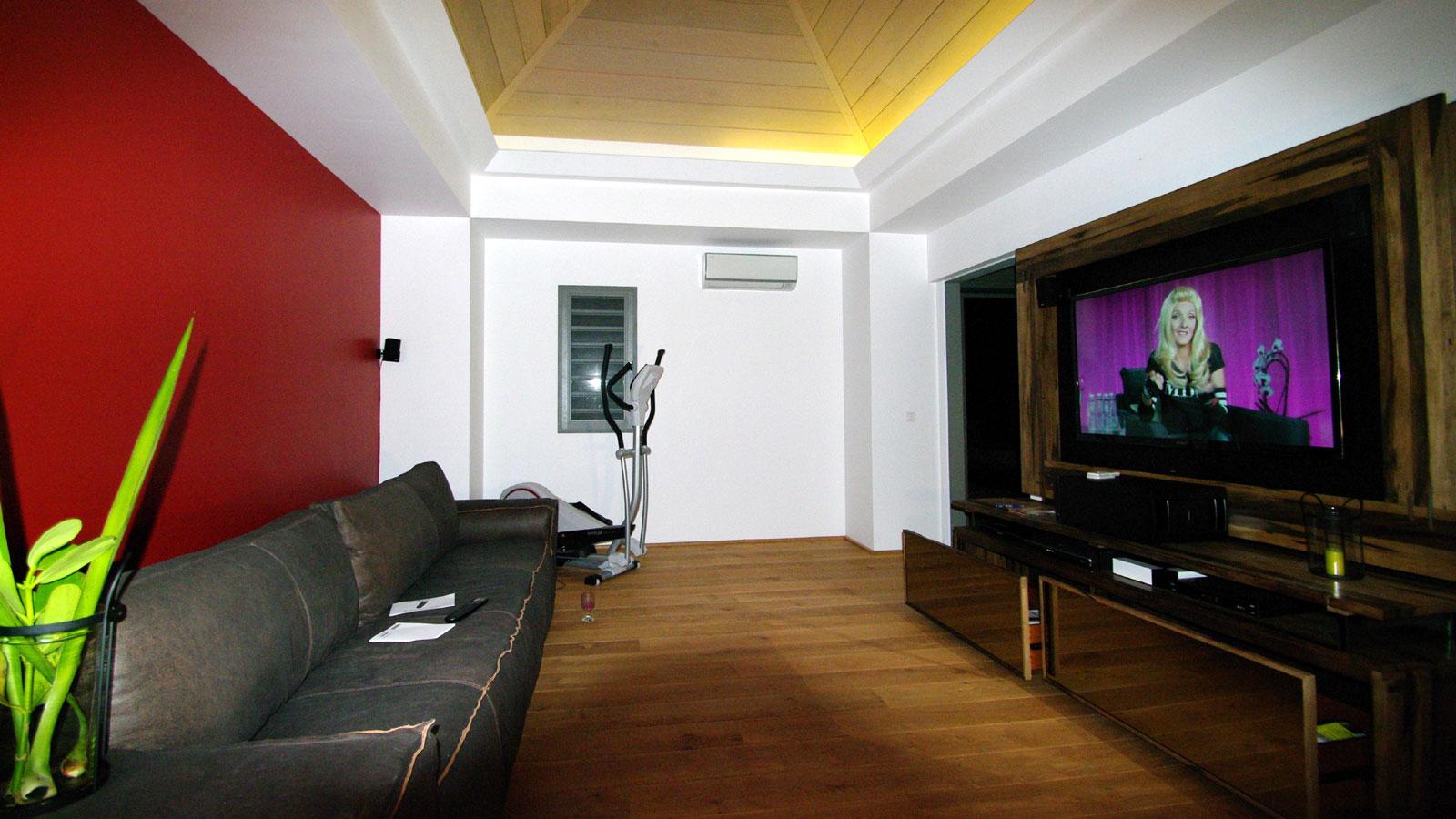 The media room (home cinema) of Green Lagoon, Petit Cul de Sac, St. Barths luxury holiday villa.